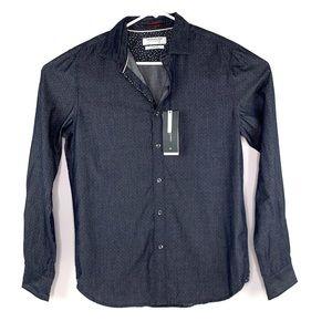 Denim and Flower Button Down Shirt Slim Medium